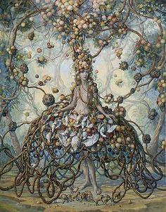 """Julie Heffernan """"Self Portrait as Roots""""  Oil on Canvas"""