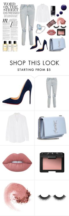 """Style Edit: Distressed Chic"" by withlovehayley ❤ liked on Polyvore featuring Christian Louboutin, 3x1, Yves Saint Laurent, Lime Crime, NARS Cosmetics, Whiteley, Topshop and Chanel"