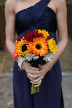 Handmade Sunflower Bouquets and a Navy Blue & Yellow Color Palatte like this without the white. the daisy is beautiful!…a Perfectly Happy Ohio Wedding Fab You Bliss, Mandy Paige Photography, Receptions Inc. wedding 008 – Fab You Bliss