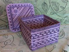 Поделка изделие Плетение Эбеновая коробочка Трубочки бумажные фото 1