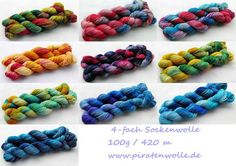 handgefärbte Sockenwolle !! handdyed sockyarn ! www.piratenwolle.de