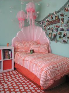 Prettiest Mermaid Bedroom Ideas for Girls Which Are Worth To Steal is part of Mermaid bedroom - These mermaid bedroom ideas for girls are so adorable to make your daughters room look so magical Get ready to be inspired now! Ocean Bedroom, Unicorn Bedroom, Girls Bedroom, Bedroom Decor, Bedroom Ideas, My New Room, My Room, Whimsical Bedroom, Zeina