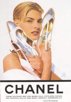 Linda Evangelista for Chanel shoes, 1990s