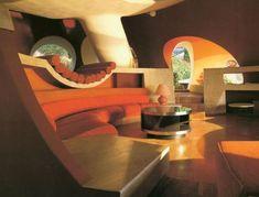 Masion bulles for Antti Lovac by Pascal Hausermann, futuristic interior, retro future, futuristic furniture Interior Design Blogs, Interior Ideas, Futuristic Interior, Futuristic Furniture, Futuristic Bed, Futuristic Architecture, Photo Decoration Ideas, Decorations, Design Lounge