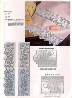 File e trina a uncinetto con schema Filet Crochet Charts, Crochet Borders, Crochet Flower Patterns, Crochet Diagram, Afghan Crochet Patterns, Crochet Designs, Annie's Crochet, Fillet Crochet, Thread Crochet