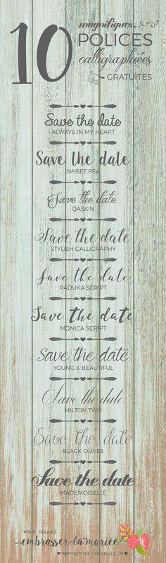 Superbes polices ! Et elles sont gratuites en plus. Vraiment une belle idée pour créer des invitations plus personnalisées. J'adore !
