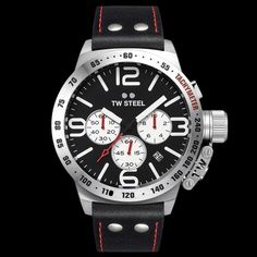 TW STEEL CANTEEN 45MM CHRONO BLACK LEATHER WATCH
