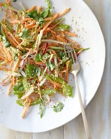 Sweet Potato, Celery & Apple Salad. A food processor is a fast way to whip the shredded ingredients up for this delicious raw food salad. Teamed with shallots, radishes, toasted sesame seeds, coriander and a zesty lemon dressing, this salad is fresh, tasty and healthy. | The Micro Gardener