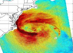 This image shows ocean surface winds for Hurricane Sandy observed at 9:00 p.m. PDT Oct. 28 (12:00 a.m. EDT Oct. 29) by the OSCAT radar scatt...