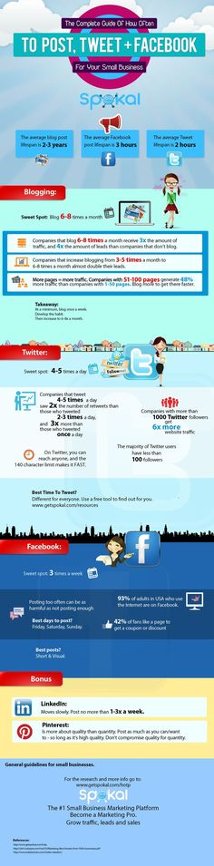 Nous allons vous présenter une infographie, qui va vous expliquer, combien de fois faut-il poster sur les réseaux sociaux tels que, Facebook, Twitter, Pinterest etc… Cette infographie a été trouvé sur socialmediatoday.com (anglais). Source : socialmediatoday