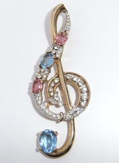 Vintage Trifari Gold Plate Pink Blue Rhinestone Treble Clef Music Note Brooch | eBay