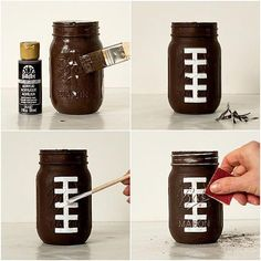 all white party Super Bowl party idea using football party mason jars painted as footballs, referees, football field and football game plan chalkboard. Wine Bottle Crafts, Mason Jar Crafts, Mason Jar Diy, Fall Mason Jars, Super Bowl Party, Football Centerpieces, Football Party Decorations, Football Party Favors, Shower Centerpieces