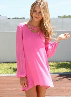 Pink Long Sleeve Dress with Cross Front Neckline,  Dress, flowy dress  long sleeve dress, Chic