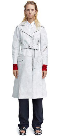 Seven white leather coat with biker elements #AcneStudios #Resort2015