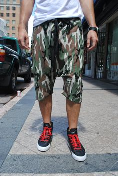 Drop Crotch Camouflage Shorts for Men and Women