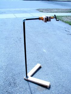And here is the stand ready for use, and with a bike clamped in position.