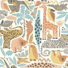 York Wallcoverings Dwell Studio Baby and Kids Jungle Puzzle Wallpaper Kids Wallpaper, Animal Wallpaper, Wallpaper Roll, Pattern Wallpaper, Room Wallpaper, Giant Giraffe, Vogue Kids, Wallpaper Warehouse, Giraffe Nursery