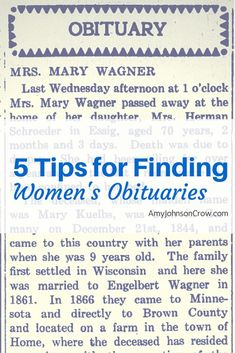 Obituaries are great in genealogy research, but finding them for women can be difficult, especially when searching in digitized newspapers. Here are 5 tips for finding obituaries for the females in your family tree. Free Genealogy Sites, Genealogy Search, Genealogy Forms, Genealogy Chart, Family Genealogy, Genealogy Humor, Free Ancestry Search, Free Genealogy Records, Beste Podcasts