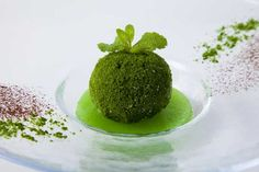 Kokedama ice dessert big scoop of matcha ice cream, covered in spinach powder and sitting in a pool of green apple puree Coffee In A Cone, New Food Trends, Fairy Food, Matcha Ice Cream, Matcha Drink, Ice Cream Candy, Japanese Sweets, Japanese Art, Dessert Spoons