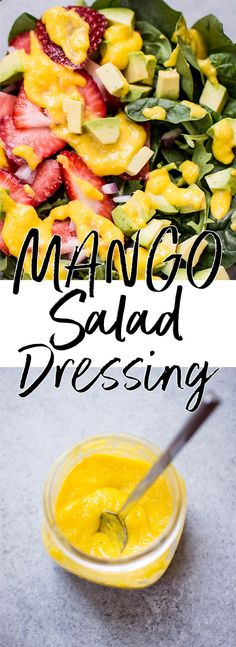 This mango salad dressing is fresh and fruity and contains only a handful of ingredients! Mango Salad Dressing - A fresh and fruity mango vinaigrette salad dressing. Mango Dressing, Vinaigrette Salad Dressing, Salad Dressing Recipes, Salad Dressings, Healthy Salad Recipes, Veggie Recipes, Healthy Snacks, Healthy Eats, Mango Salat