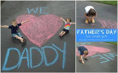 Still looking for something special to give for Father's Day? My Cup Runneth Over used some chalk and her driveway to create this sw. Fathers Day Pictures, Fathers Day Art, Fathers Day Photo, Fathers Day Crafts, Happy Fathers Day, Diy Father's Day Crafts, Father's Day Diy, Preschool Crafts, Father's Day Activities