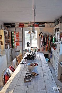 Trendy home art studio space sewing rooms Ideas Sewing Studio, Sewing Rooms, Sewing Spaces, Rustic Table, Rustic Art, Rustic Kitchen, Kitchen Decor, Space Crafts, Craft Space