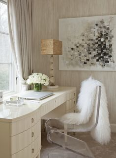 Tiffany Eastman Interiors - Chic office with Barbara Barry vanity desk, acrylic Z chair, ...