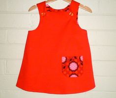 Toddler girls dress A line pinafore jumper dress retro size 3 years ready to ship. $38.00, via Etsy.