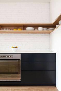 Open kitchen shelving, with the ability to create some still life displays on the top...