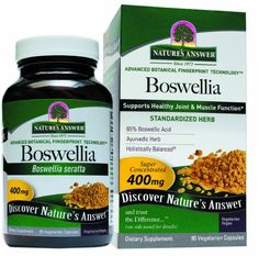 Boswellia from Nature's Answer delivers a traditional herbal nutrient for joint health nutrition. This is a standardized herbal supplement (for 65% boswellic acid). Boswellia is a gum resin that has a