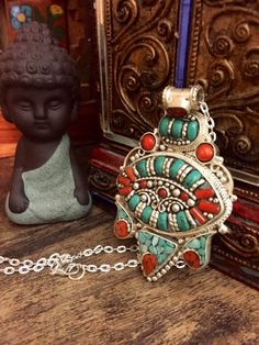Tribal necklace - raw stone - Tibetan silver necklace - turquoise and coral - handmade by Omanie on Etsy