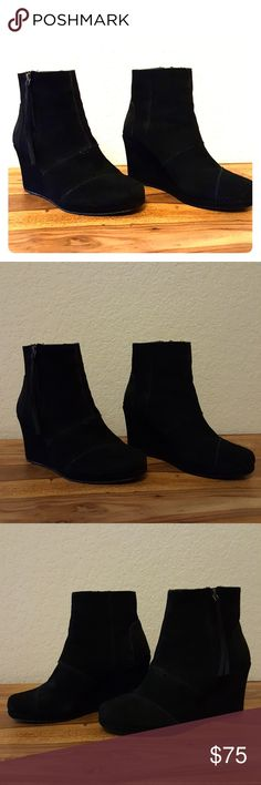 TOMS Booties Black suede size 9 TOMS booties only worn once to a short event. TOMS Shoes Ankle Boots & Booties