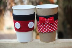 The cutest little DIY Mickey and Minnie Mouse coffee cup sleeves from @craftystaci on @themeparkfrog!