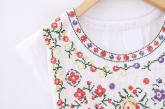 White Short Sleeve Embroidery Flare Dress