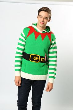 Looking for a Christmas gift for your little helper? Our Elf hoodie is the perfect way to show your appreciation! Finished with jingle bells and a knitted hood with white pompom. #JingleBells #ElfLife #LetMeTakeAnElfie #ChristmasJumpers #NoveltyJumpers #Fun #TheChristmasJumperGrotto #AdultFashion #MensClothing #WomansClothing #Wholesaler #NationalChristmasJumperDay Novelty Christmas Jumpers, Christmas Sweaters, National Christmas Jumper Day, Christmas Gift For You, Jingle Bells, Elf, Appreciation, Clothes For Women, Hoodies