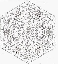 Home Decor Crochet Patterns Part 61 - Beautiful Crochet Patterns and Knitting Patterns Crochet Mandala Pattern, Crochet Motifs, Hexagon Pattern, Crochet Blocks, Crochet Diagram, Crochet Art, Doily Patterns, Crochet Squares, Thread Crochet