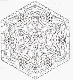 wzór na serwetę a także na narzutę / szydełko // Ivelise Feito à Mão: Hexágono Lindo De Crochê