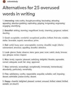 Here are the alternatives for overused words in writing for your knowledge Essay Writing Skills, Book Writing Tips, English Writing Skills, Writing Words, Writing Help, Writer Tips, Essay Writer, Writing Resources, English Vocabulary