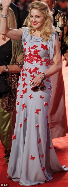 beautiful butterfly and grey dress #dress #madonna #red #butterfly #fashion