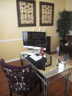 purple chair and mirrored desk