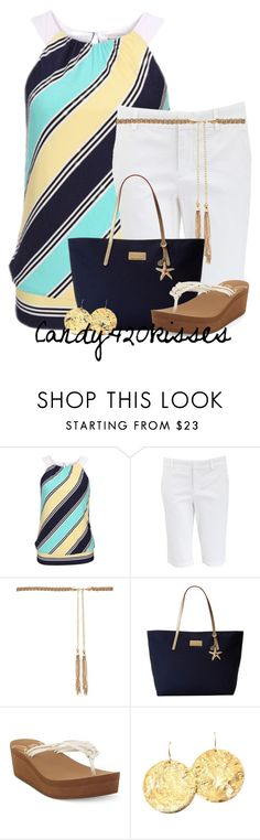 """Striped t-shirt and shorts for Summer"" by candy420kisses ❤ liked on Polyvore featuring Vince, Forever New, Lilly Pulitzer, Roxy and Night Fox Jewelry"