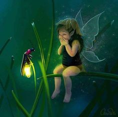 Fairy Fantasy Fairy Girl And Firefly Translucent Wings. Fairy Dust, Fairy Land, Fairy Tales, Baby Fairy, Love Fairy, Magical Creatures, Fantasy Creatures, Fantasy World, Fantasy Art