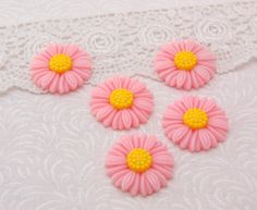 10 LIGHT PINK and  YELLOW Daisy Resin Acrylic Flower Cabochons by SmartParts, $2.99  diy jewelry making, craft and scrapbook supplies  flat back