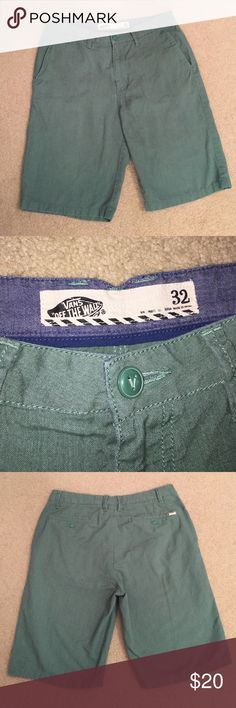 Men's Vans shorts Stylish green shorts. Front slant pockets and rear button pocket. Great condition. Size 32 Vans Shorts Flat Front