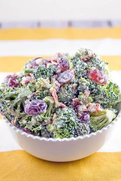Extra Crunchy Broccoli Salad: easy summer picnic broccoli salad with almonds, bacon, and grapes. Packed full of flavor without all the guilt - no mayo necessary. {Bunsen Burner Bakery}