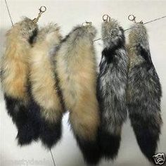 bcb649fcd48 The main material is made from large and fresh fox tails.The whole length  of keychain is about Tail Length is This is Real Silver Blue fox fur tail  with ...