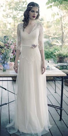 24 Vintage Inspired Wedding Dresses ❤ See more: http://www.weddingforward.com/vintage-inspired-wedding-dresses/
