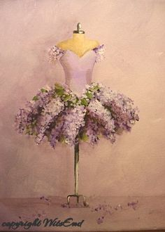 Lilac Tutu painting  original ooak ballet Flowers fantasy Ballerina costume fashion art TREASURY item: