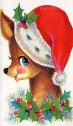 NO, I don't need another picture of a Christmas card. Old Christmas Post Сards — Vintage Christmas Images, Christmas Deer, Christmas Animals, Retro Christmas, Vintage Holiday, Christmas Pictures, Christmas Greetings, Holiday Cards, Christmas Holidays