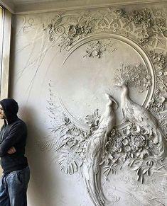 Russian Artist Uses Ancient Technique To Turn Walls Into Art - Bas-Relief Sculpture Plaster Art, Plaster Walls, Decorative Plaster, Plaster Mouldings, Plaster Crafts, Wall Sculptures, Sculpture Art, Wall Design, Floor Design